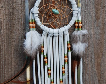 3 Inch White Deerhide Dreamcatcher-Turquoise, Green and Brass