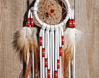 3 Inch White Deerhide Dream Catcher-Reds and Brass