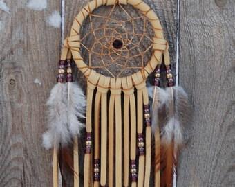 3 Inch Golden Deerhide Dreamcatcher-Purple and Brass