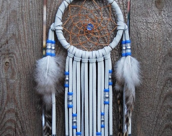 3 Inch White Deer Leather Dream Catcher-Blue, White and Silver