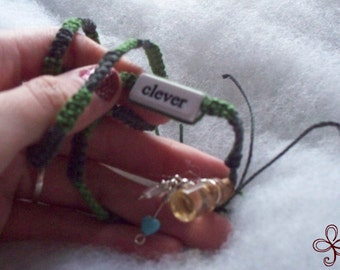 Perfectly Clever - Honey Bee Mine Necklace (Green and Grey), Potion Bottle Charm with Double Heart Dangle