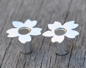 2 Gauge Silver Blossom Tunnel Plugs- made to order