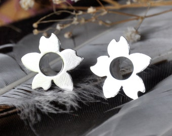 0 Gauge Silver Blossom Tunnel Plugs- made to order