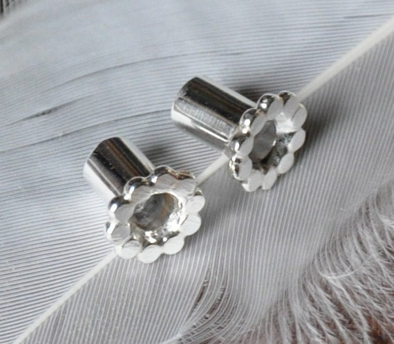 4 Gauge Scalloped Silver Tunnel Plugs- made to order