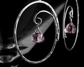 Large hoop earrings with pink amethyst - February birthstone, Argentium silver