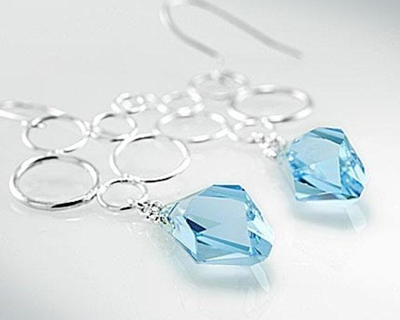 Multi hoops earrings with Swarovski sky blue topaz crystal, sterling silver
