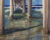The Pier Watercolor Print, Scripps, La Jolla Shores, Seascape, San Diego, Beach