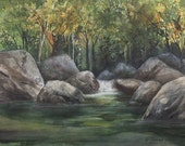 Big Sur River, Watercolor Print, Waterfall, Trees, Lush Green River, Tranquil