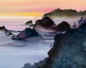 Coast Fog Watercolor Print, Seascape, Northern California, Big Sur, Sunset, Mist, Orange, Rose, Purple