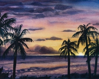 Poipu Sunset // Kauai // Watercolor // Palm trees // Hawaii // Evening // Purple // Orange