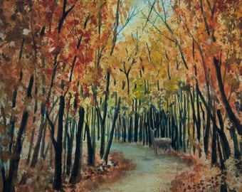 Autumn Path, Original Watercolor Painting, Deer, Trees, Forest, Fall Colors