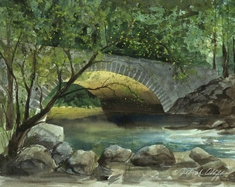 Yosemite Bridge, Watercolor Print, Merced River, Spring, Trees, Green, National Parks
