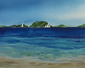 Island Life, Watercolor Print, Island, Beach, Sailboats, Tropical, Tranquil Seascape, Blue, Green