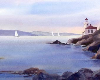 Lime Kiln, Lighthouse, Watercolor Print, San Juan Island, Dusk, Sailboats, Blue, Purple