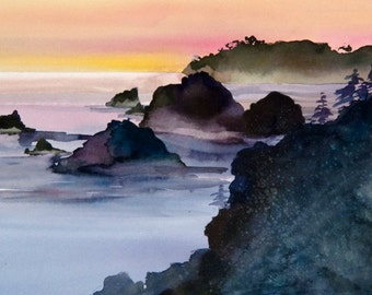Coast Fog Watercolor Print, Seascape, Northern California, Big Sur, Sunset, Mist, Orange, Rose, Purple