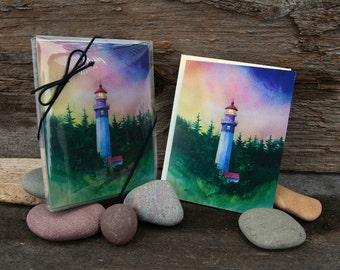 Gray's Harbor, Watercolor, Note Cards, set of 8, Lighthouse, Olympic Peninsula Washington