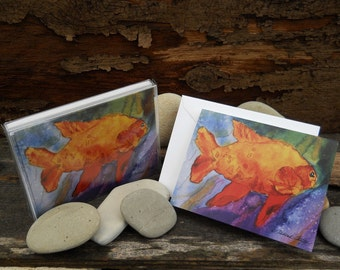 Garibaldi, Watercolor Greeting Cards/Notecards, Boxed set of 8, Orange Fish, Marine life