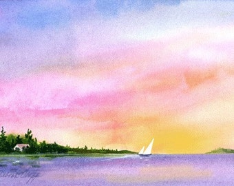 Sunset Sailing, Watercolor Print, Sailboats, Island, Colorful Sky, Calm, Orange, Blue, Pink