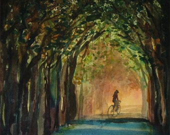 Hello Summer, Watercolor Print, Early Morning, Cyclist, Bike Ride, Golden, Shady Tree Canopy, Green, Blue