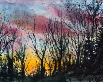 Tanglewood I, Watercolor Original Painting, Colorful Sky, Trees, Sunset, Silhouette
