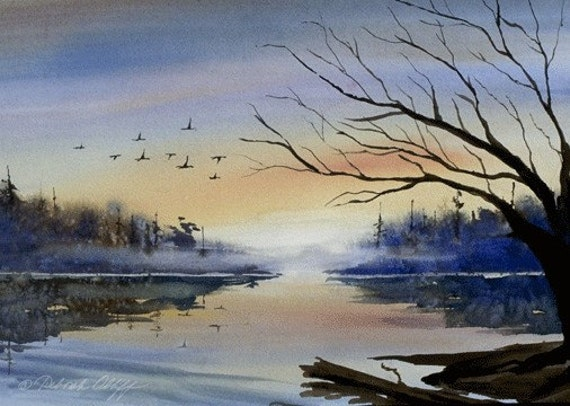 Misty Morning, Watercolor Print, Calm Lake, Sunrise, Sunset, Reflections, Birds, Trees
