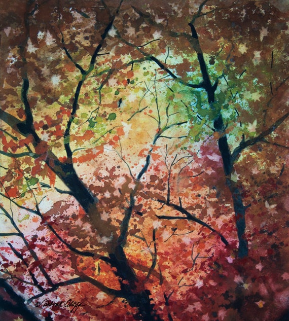 Looking Up // Watercolor // Fall/Autumn // Leaves // Trees