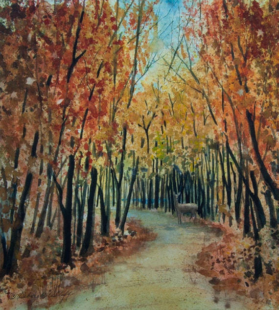 Autumn Path, Watercolor Print, Deer, Trees, Forest, Fall Colors