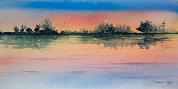 Along the River, Watercolor Print, Peaceful River, Reflections, Blue, Peach, Yellow, Birds