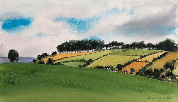 Greener Pastures, Watercolor Print, Green, English Countryside, Cows, Hills, Fields