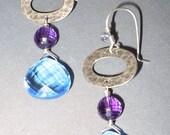 Sterling Silver Hoop Earrings and AAA Grade Tanzanite Quartz and Royal Purple Amethyst