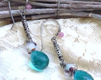 Aged Sterling Silver Earrings featuring AAA Grade Teal Blue Quartz and Artisan Made Lampwork Beads