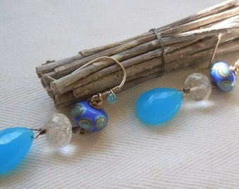 Sterling Silver Earrings featuring Lampwork Beads and AAA Grade Rock Crystal Quartz and Aqua Blue Chalcedony
