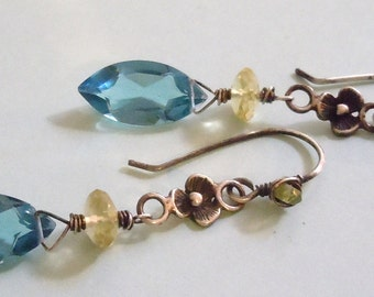 Aged Sterling Silver Earrings featuring AAA Grade London Blue Quartz and Lemon Quartz