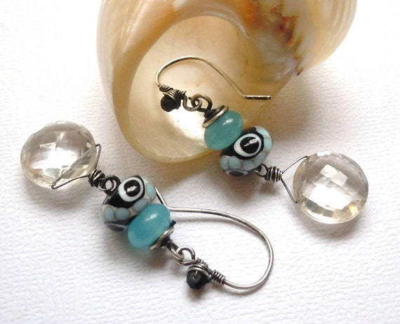 Sterling Silver Earrings, Lampwork Beads and AAA Grade Crystal Quartz and Neon Aqua Chalcedony