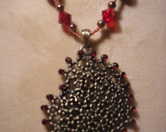 Large Bronze Heart with Red  Rhinestones