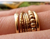 Wrapped Ring - Tiny Rings Held Together - 5mm Wide Gold Filled Stacking Rings - Trending Rings - Textured Gold Band Rings - Venexia Jewelry