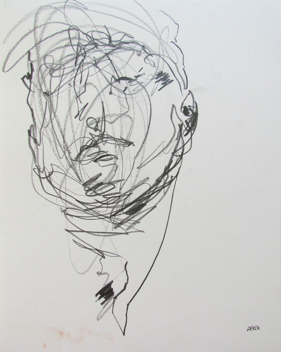 "abstract portrait, figure drawing - 11 x 14"",  from life - Drawing 70 - graphite on paper - original drawing"