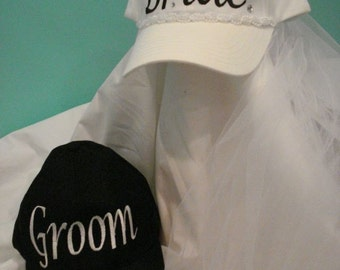Bride and Groom Hats Embroidered Wedding and Honeymoon Fun. Makes Great Bridal Gifts