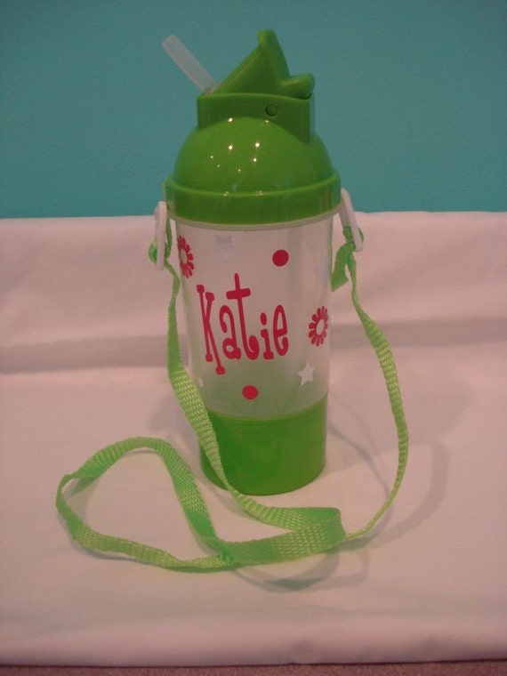 Personalized Water Bottles with Pop-Up Straw, Snack Holder and Adjustable Strap-Great for Party Favors-Birthdays-Beach