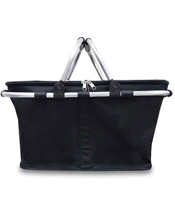 Insulated Black Collapsible Market Tote Personalized Free Great for the Beach, Pool Parties, Wedding gifts, Great for Tennis