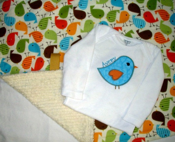 Too Tweet Lovie Blanket with Personalized Bodysuit, Baby Girl Gift Set