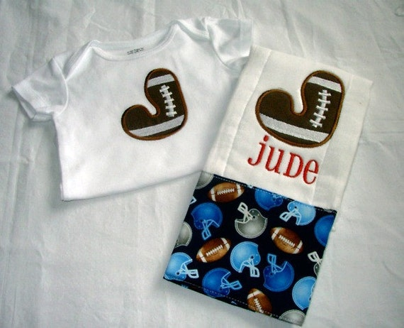 Baby Boy  2 Piece Gift Set, Personalized Bodysuit and Burp Cloth,  Sport's Life Football
