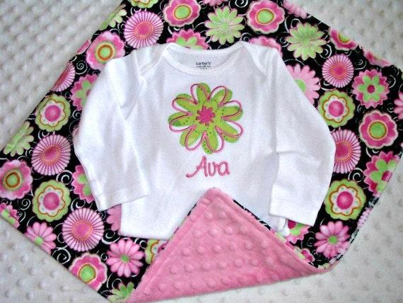 Pretty Pink Posie Lovie Blanket with Personalized Bodysuit, Baby Girl Gift Set