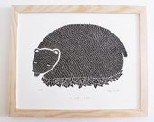 SLEEPING BEAR, original linocut print - limited edition