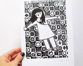 Linocut - Girl on oriental carpet - Limited edition