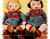 DoLL VINTAGE KNITTING PaTTERn DaRLING TWin DoLLS with Set Doll Clothes PDF Download
