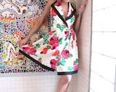 Polka Dots & Roses 50s 80s Halter Dress M L