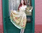 Dress 50s 1950s Full Skirt Silk Wheat Floral Summer Print M