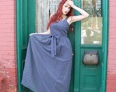 Dress 1970s 1960s Vintage 70s 60s Blue White Prairie Polka Dot  Maxi Gown M