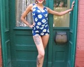 Swimsuit 1950s Vintage 50s Bathing Suit Rockabilly Floral Daisies S